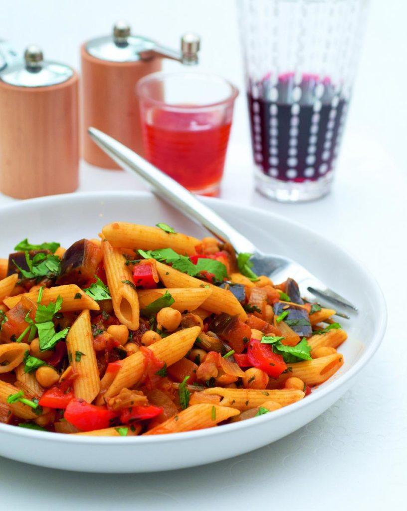 Aubergine and Chickpea Penne 816x1024 - Penne di melanzane e ceci - ricette-vegane, pasti-principali-