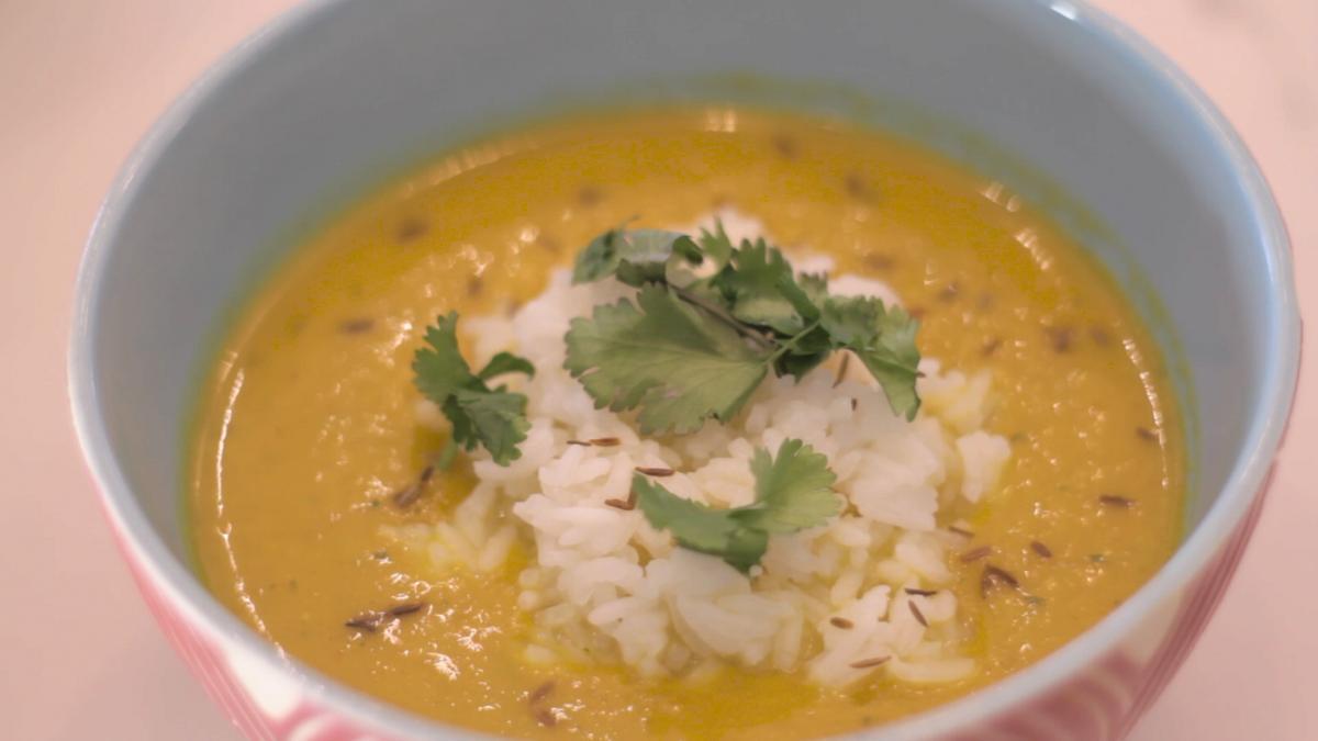 Thai arrosto di zucca e zuppa di noce di cocco