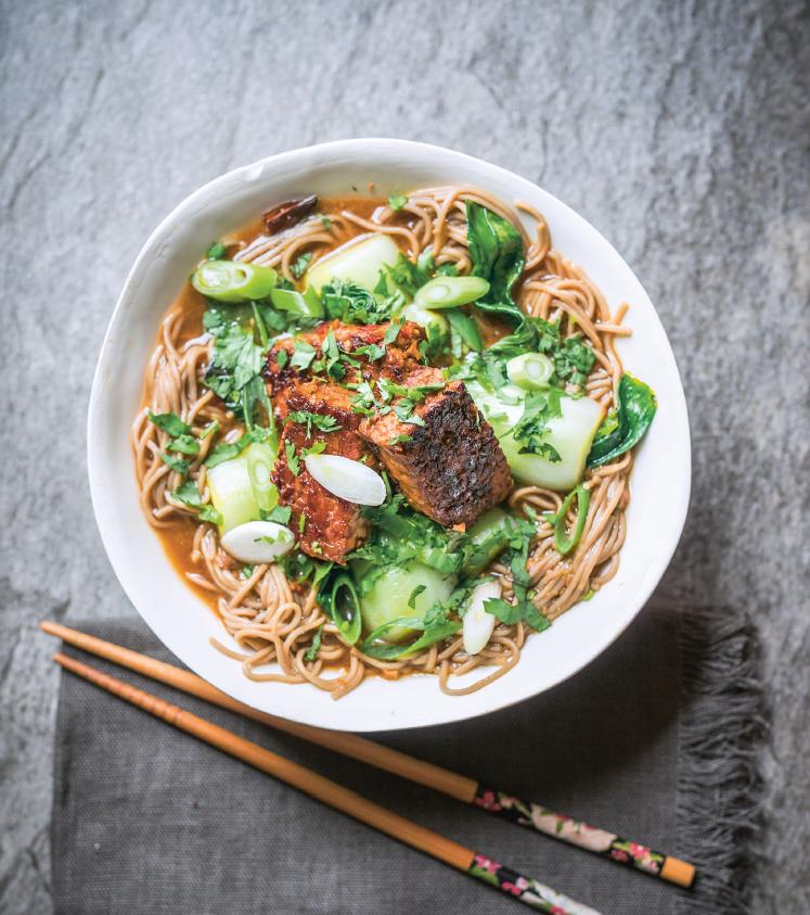 temeoh - Tempi glassati, bok choi e soba noodles